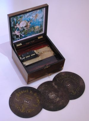 A disc musical box by Polyphon
