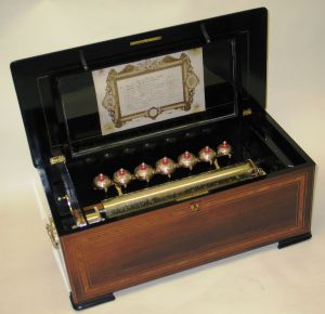 Seven 'Bells in Sight' cylinder musical box